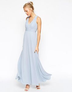 ASOS | ASOS WEDDING V Neck Twist Back Maxi Dress at ASOS