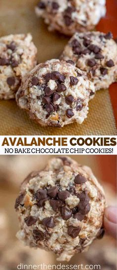 Avalanche Cookies are easy no bake cookies with chocolate chips, peanut butter, white chocolate marshmallows and rice krispies in under 20 minutes! for chocolate chips for chocolate chips and peanut butter for chocolate chips cookies Chocolate Chip Cookies, Chocolate Marshmallows, Chocolate Chips, Cookies With Marshmallows, Chocolate Desserts, Easy No Bake Cookies, Easy Cookie Recipes, Baking Recipes, Baking Cookies