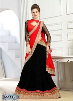 Get yourself look like a Diva in this gracious Black & Red color Designer Lehenga Choli! Beautiful Border work has been done through the Lehenga & Top, with a perfect matching Choli.