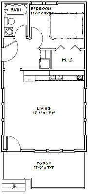 18x32 Tiny House -- 576 sqft -- PDF Floor Plan -- Model 1E  ~ Great pin! For Oahu architectural design visit http://ownerbuiltdesign.com