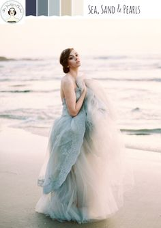 Sea, Sand and Pearls – Romantic Beach Wedding Inspiration in Dusky Shades of Blue