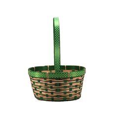 Small Bamboo Basket With Dots Ribbon