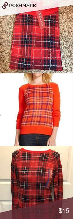BNWT plaid sweater Navy blue & red plaid sweater, brand new Merona Sweaters