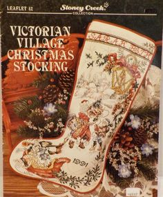 Victorian Village Christmas Stocking-Counted Cross Stitch Patterns-Christmas-Noel-Winter-Sleigh-by Stoney Creek by LouisandRileys on Etsy