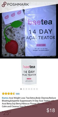 14 day Bae tea teatox and strainer Brand new never opened 14 day teatox with strainer. Other