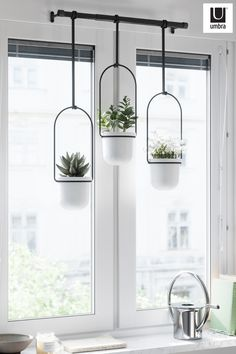 Umbra TRIFLORA PLANTER hangs beautifully by your window to elevate your plants and add a unique greenery display to your space. Home Interior Design, Interior Decorating, Home And Deco, Hanging Planters, Indoor Plants, Air Plants, Kitchen Decor, Decorating Kitchen, New Homes