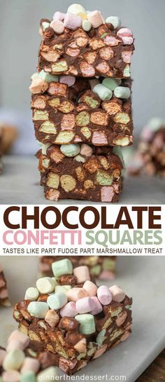 Chocolate Confetti Squares – Dinner, then Dessert Chocolate Confetti Squares are an easy no-bake dessert with fruity marshmallows, melted chocolate chips and peanut butter that taste like part marshmallow treat and part fudge! Chocolate Marshmallow Squares, Marshmallow Desserts, Recipes With Marshmallows, Easy No Bake Desserts, Chocolate Marshmallows, Melting Chocolate Chips, Chocolate Desserts, Melted Chocolate, Chocolate Fudge
