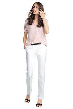 Esprit - Baumwoll-Stretch-Hose mit Nieten-Gürtel im Online Shop kaufen