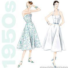 1950s Vintage Vogue V2961: Halter Dress & Belt Sewing Pattern – WeSewRetro