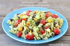 Southwestern Pasta Salad with Creamy Avocado Dressing   Two Peas and Their Pod #recipe - Good! I liked it more than Josh. The dressing makes a ton! I only used about 2/3 of what was made.