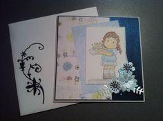 Une carte que j ai réalisée pour une amie :-) Tampon Magnolia Tilda, decoupes à la silhouette