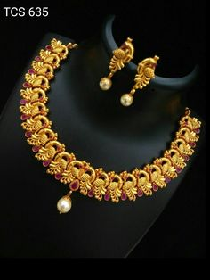 For purchase or wholesale details,watsapp on 9986249048 Gold Temple Jewellery, Silver Jewellery Indian, Gold Jewellery Design, Gold Jewelry, Gold Bridal Earrings, Gold Earrings Designs, Bridal Jewelry, Gold Necklace, Necklace Ideas