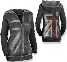 Metal union jack zip hoodie
