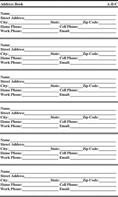 search for free printable address book - Free Printable Address Book Sheets