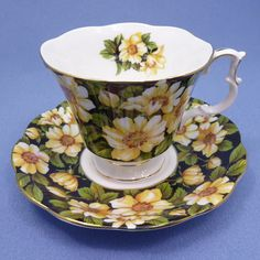 Royal Albert Diana Tea Cup and Saucer, Royal Albert Yellow Flower Teacup, Black Chintz Tea Cup, Bone China England, Gainsborough Cup by Thinkilikeit on Etsy