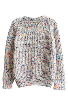 Long Sleeve Multi Color Dot Round Neck Sweater - Beautifulhalo.com