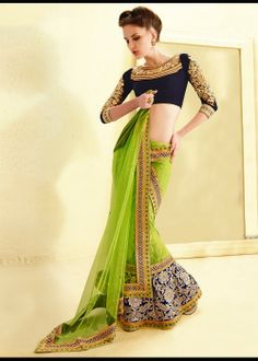 Green net lehenga saree for wedding and occasions Shop at - http://gravity-fashion.com/15474-green-net-lehenga-saree-for-wedding-and-occasions.html  See more at - https://www.facebook.com/gravityfashionlive?ref=hl