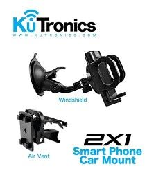 (KuTronics) 2X1 Universal Smartphone Car Mount, Secure Phone/GPS to Windshield or Air Vent, Padded, Adjustable Grips, Fits any Smartphone on the market