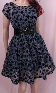 Little Black Tulle Printed Velvet Dress | ღ♥♥ღ Fashion ღ♥♥ღ by pearlescent