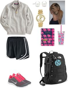southernbombshell23:  Excited for college!!! por southernbelleprep usando acrylic key chains ❤ liked on PolyvoreVineyard Vines  pullover / NIKE  / NIKE neon athletic shoes / The North Face backpacks bag / Michael Kors gold jewelry, $320 / Acrylic key chain / Lilly Pulitzer Acrylic Tumbler with Straw / Lilly Pulitzer 2014 Agenda