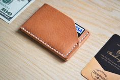 Horween leather Cardholder Wallet in Essex Natural (Tan). Business Card Case. Handsewn