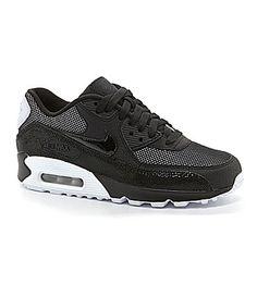 Nike Womens Air Max 90 Premium Running Shoes #Dillards-Black/Metallic Silver/White