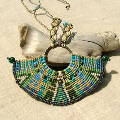 Tribal spirit large macrame necklace with green chrysocolla beads