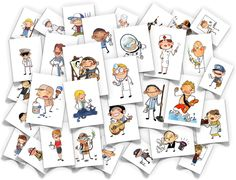 Jobs Flash Cards - PDF comes with all the images listed below plus corresponding word cards. fireman, robber, astronaut, farmer, lifeguard, exterminator, musician, mechanic, letter carrier, painter, sailor, secretary, teacher, doctor, scientist, custodian, student, baseball player, nurse, actor, veterinarian, chef, spy, athlete, housewife, milkman, newscaster, window washer, barista, clerk, personal trainer and pharmacist or chemist.