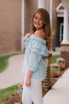 Matilda Off Shoulder Top ~ Blue