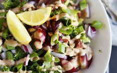 Easy Broccoli Salad With Almond Lemon Dressing [Vegan, Gluten-Free] | One Green Planet
