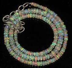 """40 TCW 1 Strands 3 to 5 mm 16"""" Beads necklace Ethiopian Welo Fire Opal  92987"""