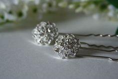 Crystal Hair Pins  Wedding Hair Pins  made with jeweled by AngleAh, $27.00