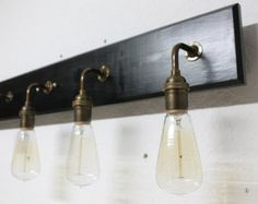 Bathroom Vanity Lamp - Antique Brass Lighting - Vanity lighting - Edison Bulb Lamp - Bathroom Light fixture - Customizable by PartyandHomeDesign on Etsy Vintage Bathroom Lighting, Industrial Bathroom Lighting, Best Bathroom Lighting, Bathroom Light Fixtures, Rustic Lighting, Vanity Lighting, Bathroom Vintage, Lighting Ideas, Vintage Lighting