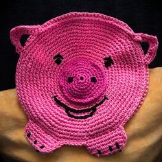crochet pig potholder | Pig Potholder no pattern