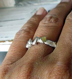 Raw Diamond Organic Silver Ring by HotRoxCustomJewelry on Etsy, $109.00