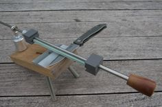 DIY Sharpening Jig.  This is set up to make some very nice shape edges.