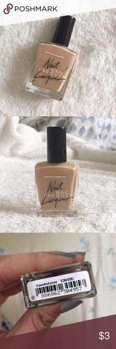 "AA Nail Lacquer Color is ""Sandstorm"" . Only worn/applied once, so the bottle is pretty much almost full . No longer sold in stores American Apparel Other"