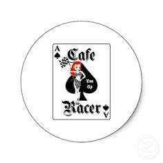 Cafe Racer Ton Up Redhead Round Stickers from http://www.zazzle.com/ace+of+spades+stickers