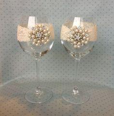 Set of two Wedding wine charm-Anniversary Wine Charm- bride and groom wine glass-head table wine glass - wedding mason jars- bridal party on Etsy, $22.00: