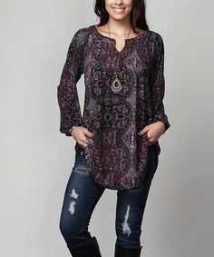 Another great find on #zulily! Plum Paisley Notch Neck Tunic - Plus #zulilyfinds