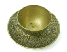 Brass Coffee Tea Cup & Saucer India 1880-90's Intricate Black Detail Flowers