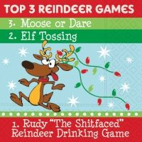 'Top 3 Reindeer Games' Funny Christmas Cocktail Napkins by Connexxions