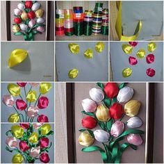 DIY Colorful Satin Ribbon Tulips | iCreativeIdeas.com Follow Us on Facebook --> https://www.facebook.com/iCreativeIdeas