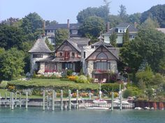 Young Home in Charlevoix, Michigan. We did a tour to see all the 'mushroom' houses two summers ago. Michigan Vacations, Michigan Travel, Charlevoix Michigan, Mushroom House, Mackinac Island, Northern Michigan, Fairy Houses, House Tours, Places To Go