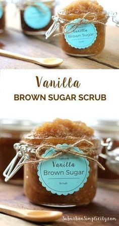 This Vanilla Brown Sugar Scrub recipe smells good enough to eat plus it's super easy to make! A simply perfect DIY! #CandleMakingWithoutPain!
