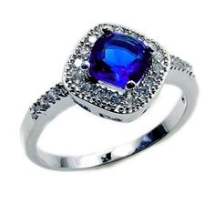 Seductive Sterling Silver Blue Cubic Zirconia Ring, Size 7.75