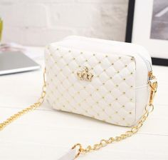 Item Type: Handbags Style: Fashion Gender: Women Lining Material: Polyester Exterior: Silt Pocket Closure Type: Zipper Decoration: Sequined,Rivet,Chains Types of bags: Shoulder & Crossbody Bags Pattern Type: Solid Hardness: Soft Main Material: PU Chanel Handbags, Fashion Handbags, Purses And Handbags, Fashion Bags, Fashion Women, Style Fashion, Mini Handbags, Fashion 2020, Chain Shoulder Bag