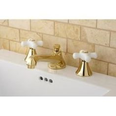 Cross-Handle Polished Widespread Bathroom Faucet
