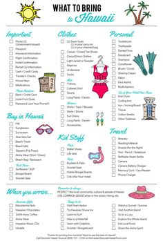 What To Pack - Hawaii Edition   Here it is! Your ultimate packing guide for visiting the Hawaiian Islands. Don't forget to print it out!   Beach Vacation Tips and Ideas