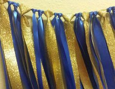 Little Prince Royal Blue Gold Ribbon Garland Gorgeous Glitter Gold Ribbon Perfect for baby shower or birthday party decor. Backdrop or use for photos! Prince Birthday Theme, King Birthday, Baby Boy 1st Birthday, Blue Birthday, 1st Birthday Parties, 1st Birthdays, Baby Shower Decorations For Boys, Baby Shower Themes, Baby Boy Shower